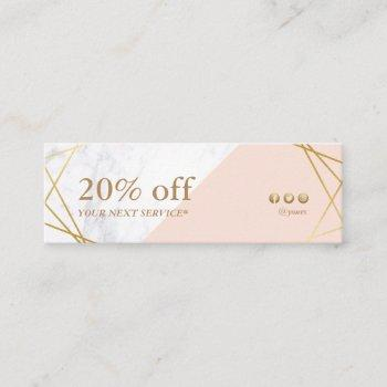 modern minimalist geometric marble discount coupon mini business card