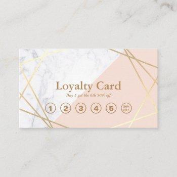 modern minimalist geometric marble gold loyalty business card