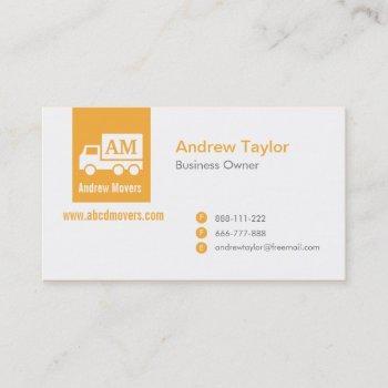 modern minimalist mover company orange white truck business card