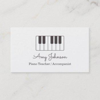 modern minimalist music piano teacher business card