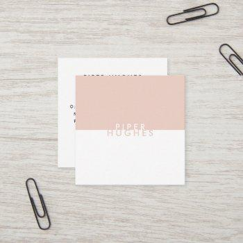 modern minimalist square business cards | blush