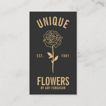 modern minimalist trendy black gold rose flower business card