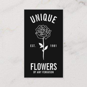 modern minimalist trendy black white rose flower business card