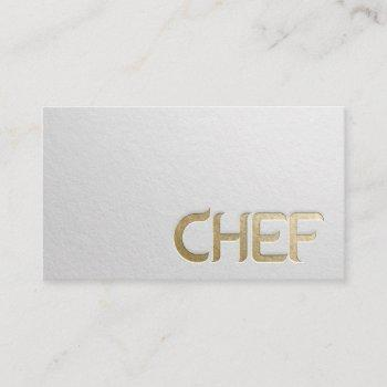 modern minimalist white & gold embossed text chef business card