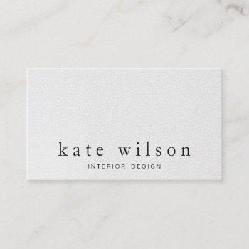 modern minimalist white leather professional business card