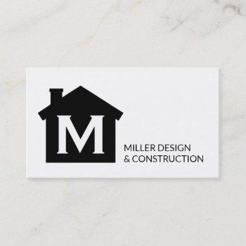 modern monogram contractor architect real estate business card
