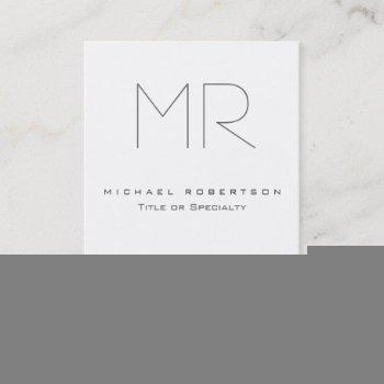 modern monogram grey white clean business card