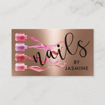 modern nails rose gold foil business card