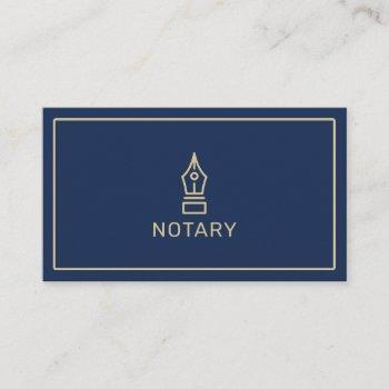 modern navy blue gold notary loan signing agent business card
