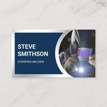 modern navy blue steel welding fabricator welder business card