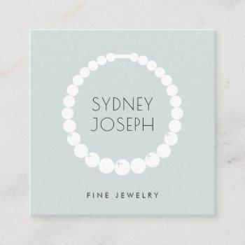 modern necklace logo | jewelry design square business card