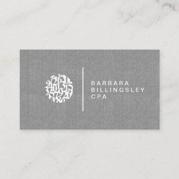 modern numbers logo linen accountant business card