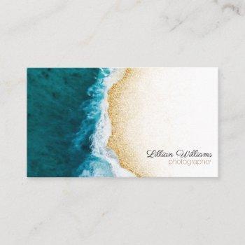 modern ocean teal waves gold glitter ombre coast business card