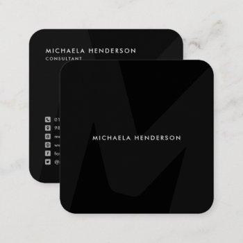 modern oversized monogram initial square bfactory square business card
