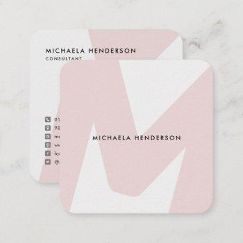 modern oversized monogrammed initial square business card