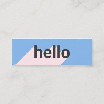 modern pastel blue pink trendy hello typography mini business card
