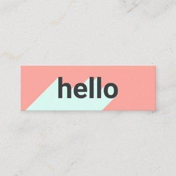modern pastel coral mint trendy hello typography mini business card