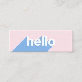 modern pastel pink blue trendy hello typography mini business card