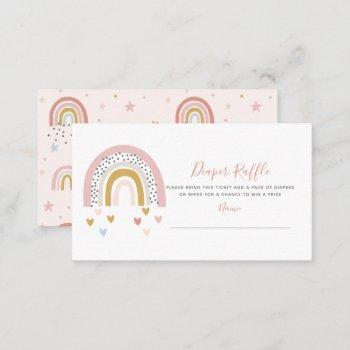 modern pastel rainbow baby shower diaper raffle business card