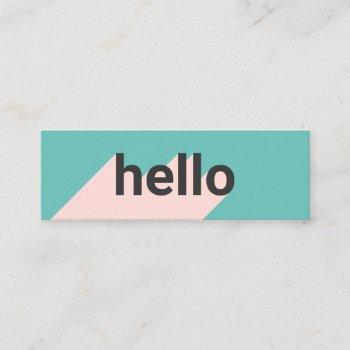 modern pastel teal pink trendy hello typography mini business card