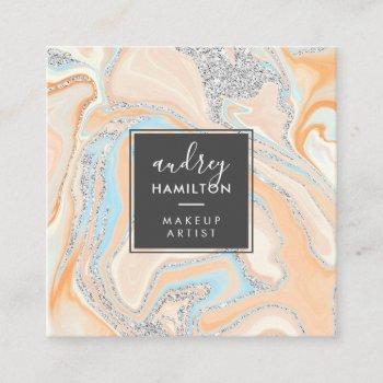 modern peach blue marble silver glitter makeup square business card
