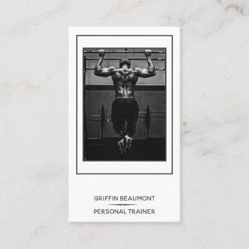 modern personal trainer minimalist photo business card