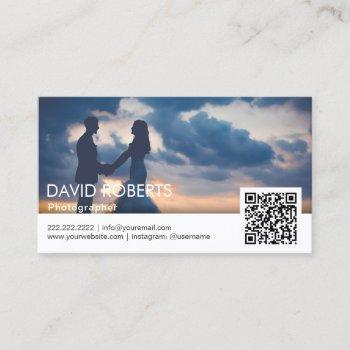 modern photography qr code photographer business card