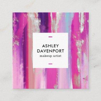 modern pink and silver glitter brushstrokes makeup square business card