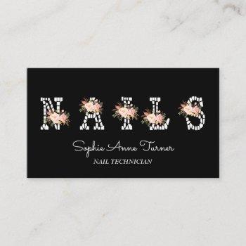 modern pink flowers letter nail technician business card