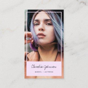 modern pink frame actor model singer dancer photo business card