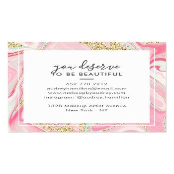 Small Modern Pink Marble Chic Gold Elegant Makeup Artist Square Business Card Back View