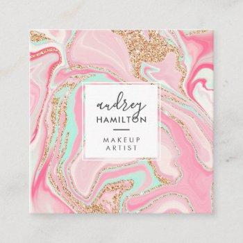 modern pink marble rose gold elegant makeup artist square business card
