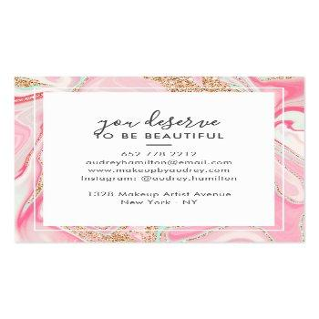 Small Modern Pink Marble Rose Gold Elegant Makeup Artist Square Business Card Back View