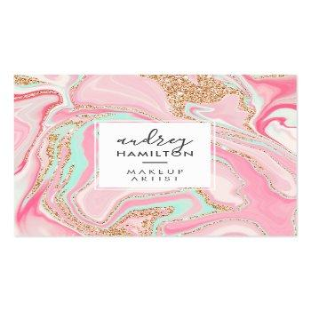 Small Modern Pink Marble Rose Gold Elegant Makeup Artist Square Business Card Front View