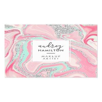 Small Modern Pink Marble Silver Elegant Makeup Artist Square Business Card Front View