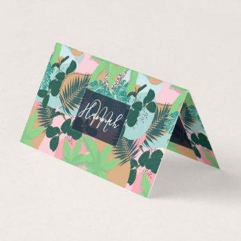 modern pink mint tropical foliage creative design business card