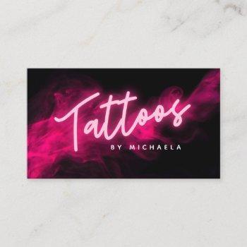 modern pink neon & smoke tattoo artist business card