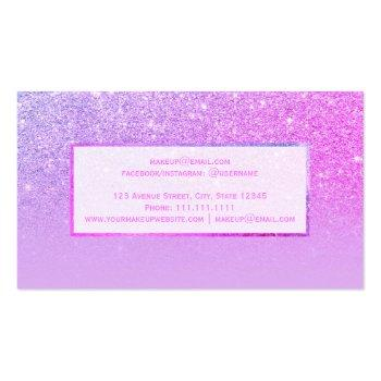 Small Modern Pink Purple Glitter Lavender Ombre Makeup Business Card Back View