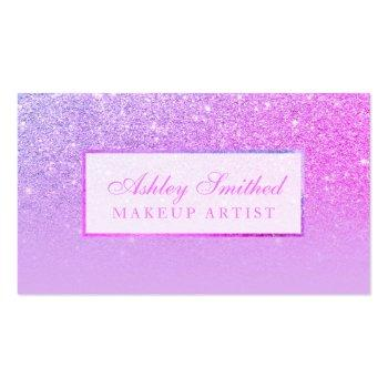 Small Modern Pink Purple Glitter Lavender Ombre Makeup Business Card Front View