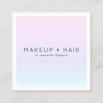 modern pink purple gradient holographic makeup square business card