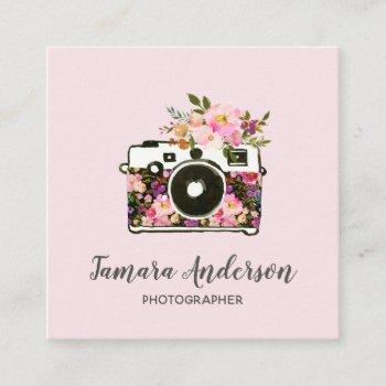 modern pink rose gold floral camera photographer square business card