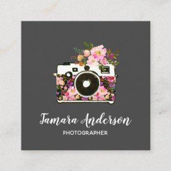 modern pink rose gray floral camera photographer square business card