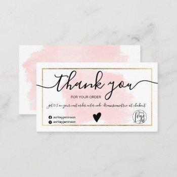 modern pink watercolor gold foil order thank you business card