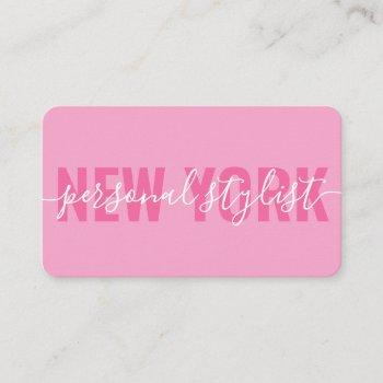 modern pink white fashion stylist script signature business card