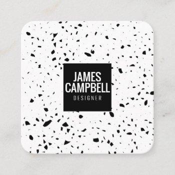 modern plain black white terrazzo marble pattern square business card