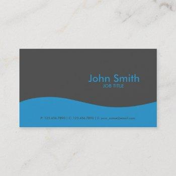 modern plain simple hi tech blue business card
