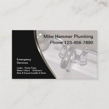 modern plumber sink faucet design business card