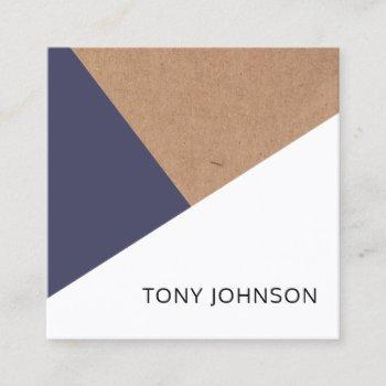 modern printed kraft dark blue white geometric square business card