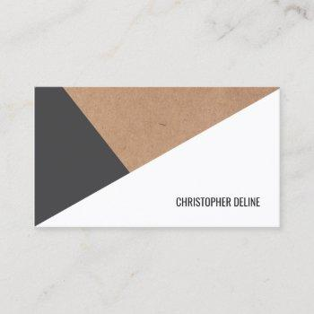 modern printed kraft paper grey white geometric business card