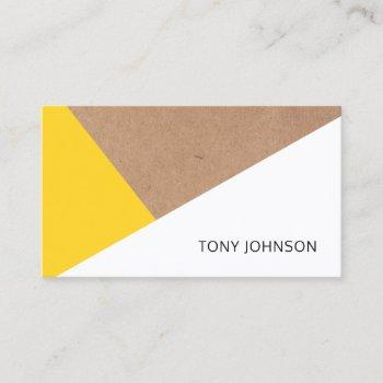 modern printed kraft paper yellow white geometric business card